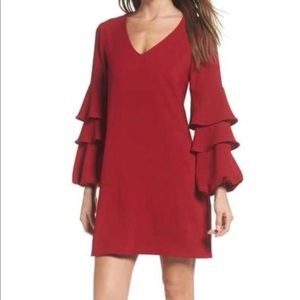 Charles Henry Tiered Ruffle Sleeve Red Dress